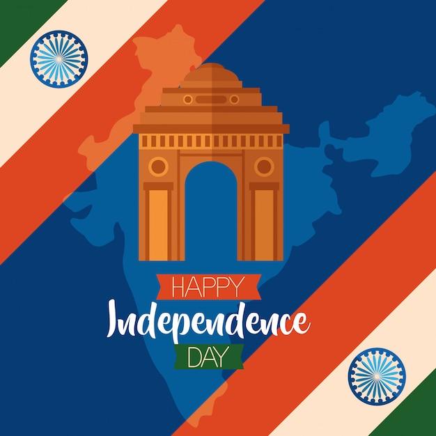 Feliz día de la independencia en india en estilo plano vector gratuito