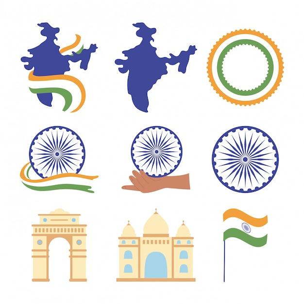 Feliz día de la independencia india, mapa bandera hito monumentos famosos iconos de rueda establece ilustración Vector Premium