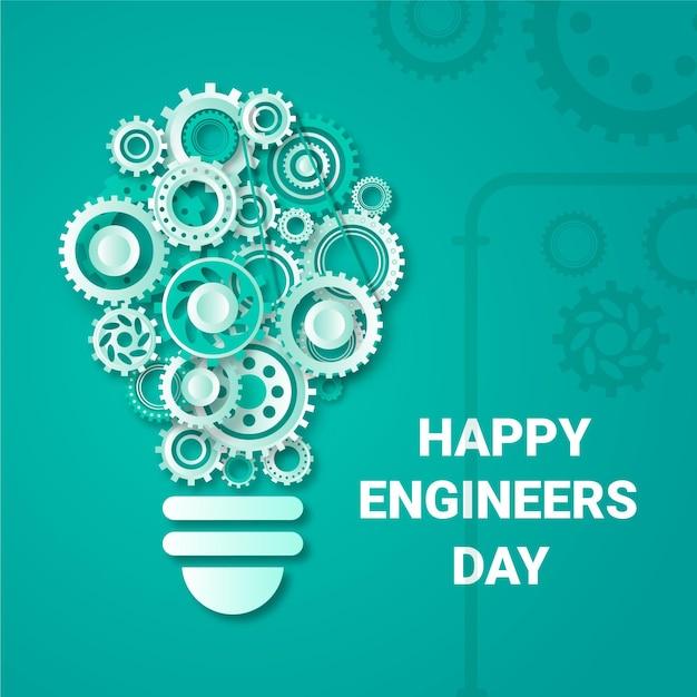Feliz día de los ingenieros con ruedas dentadas vector gratuito
