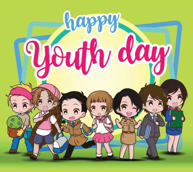 Feliz día de la juventud, niños en traje de trabajo Vector Premium