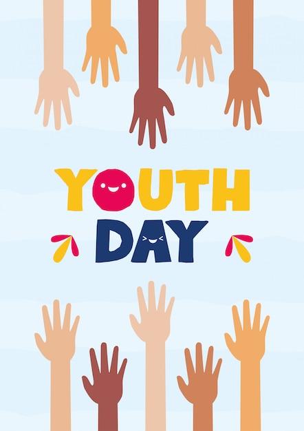 Feliz dia de la juventud vector gratuito
