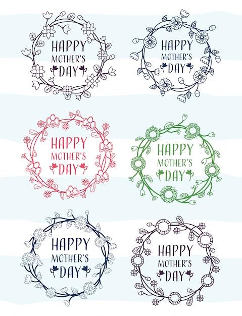 Feliz día de la madre conjunto de marcos del día de la madre con ilustración de flores vector gratuito