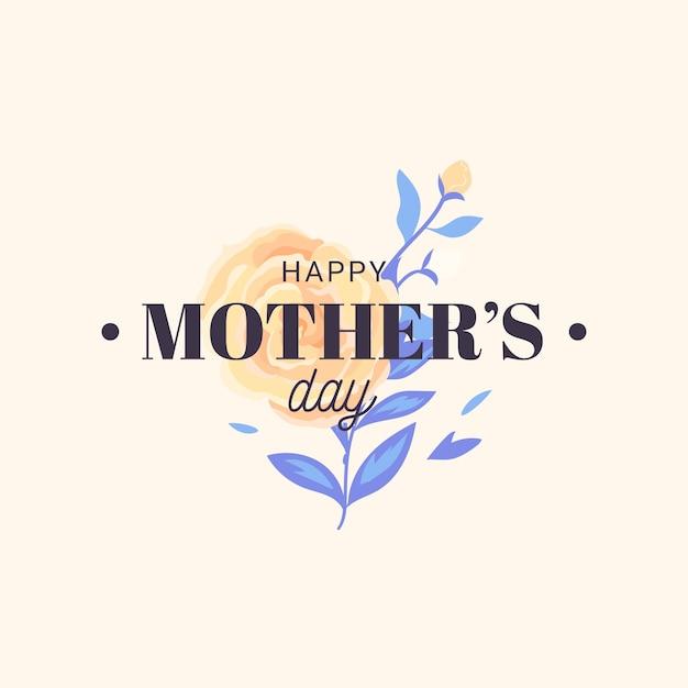 Feliz día de la madre floral y hermosa rosa Vector Premium