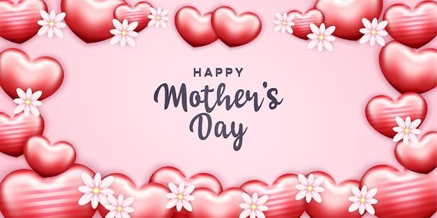 Feliz día de la madre con flores y formas de hogar realistas Vector Premium