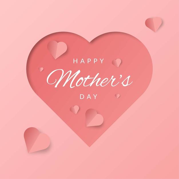 Feliz día de la madre de fondo con forma de corazón 3d sobre fondo rosa Vector Premium