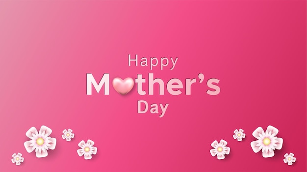Feliz dia de la madre con forma de corazón y flores Vector Premium