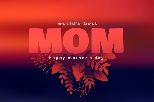 Feliz día de la madre hojas decorativas saludo vector gratuito