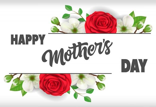 Feliz día de la madre letras con rosas. tarjeta de felicitación del día de las madres. vector gratuito