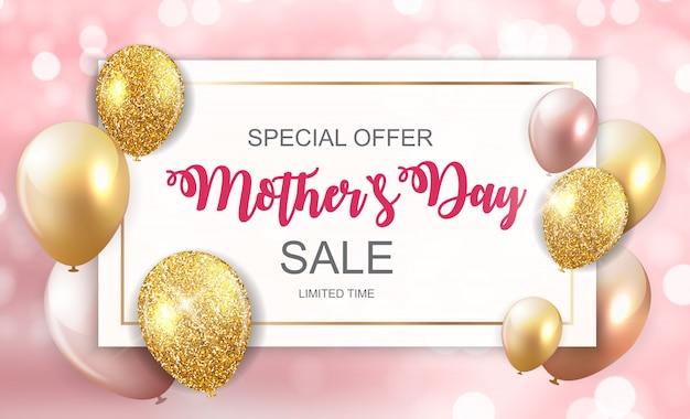 Feliz día de la madre linda venta banner con globos Vector Premium
