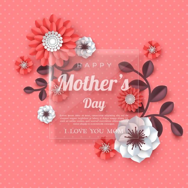 Feliz día de la madre tarjeta de felicitación. Vector Premium