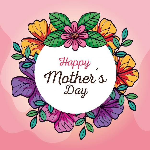 Feliz día de la madre tarjeta y marco circular con decoración de flores vector gratuito