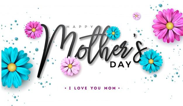 Feliz dia de las madres diseño con letra y tipografía de flores. Vector Premium