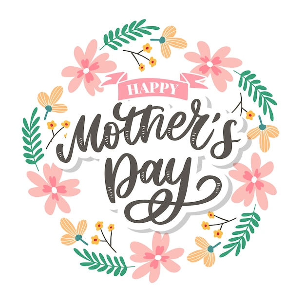 Feliz día de las madres letras. ilustración de caligrafía hecha a mano. tarjeta del día de la madre con flores. Vector Premium