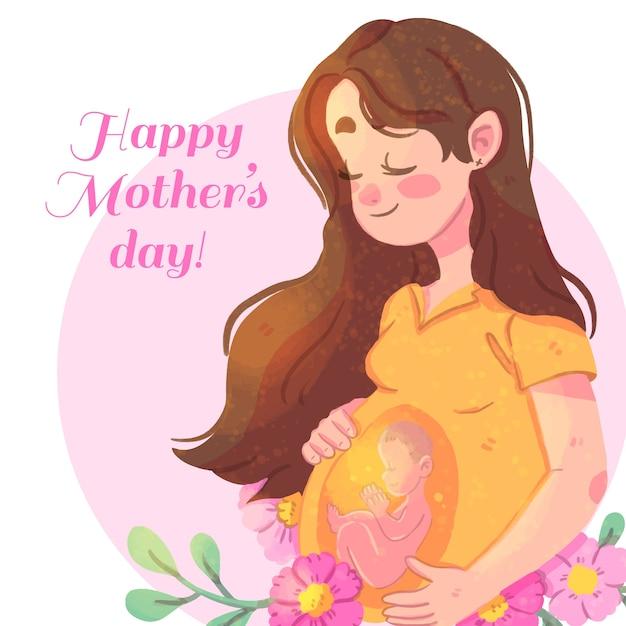 Feliz dia de las madres con mujer embarazada vector gratuito