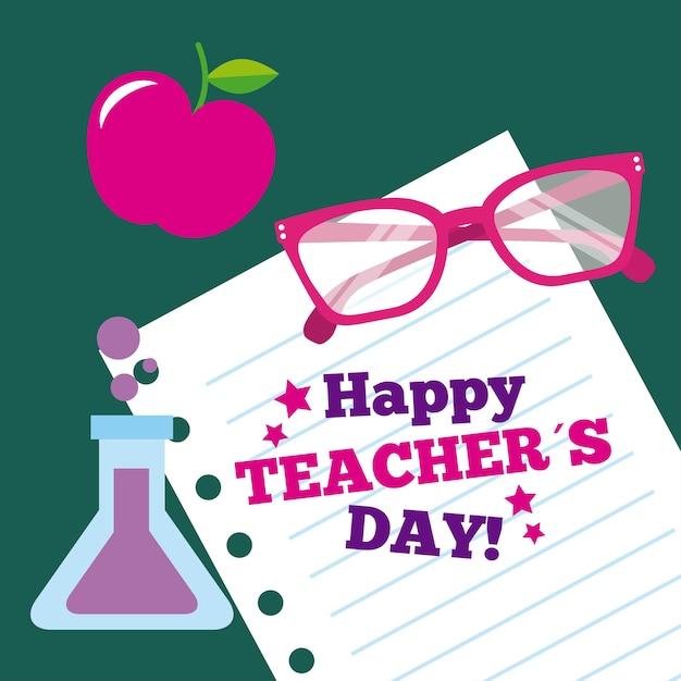Feliz día de la maestra tarjeta de papel vasos de manzana ...
