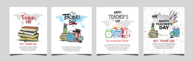 Feliz día del maestro colección de pancartas cuadradas Vector Premium