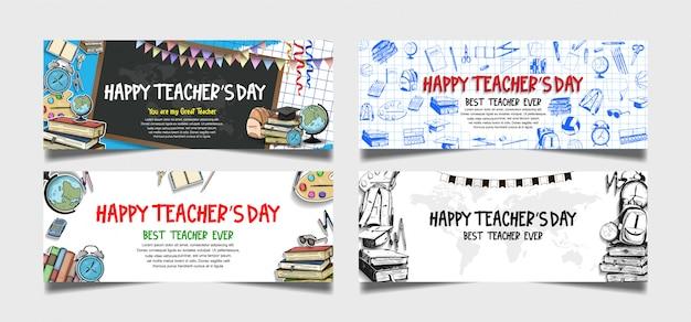 Feliz día del maestro colección de pancartas Vector Premium