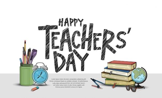 Feliz día del maestro, elementos escolares Vector Premium