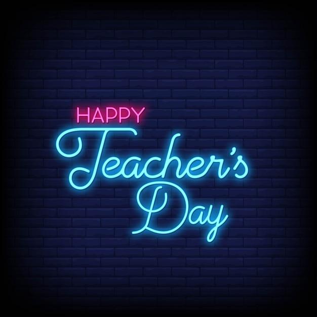 Feliz día del maestro en letreros de neón Vector Premium