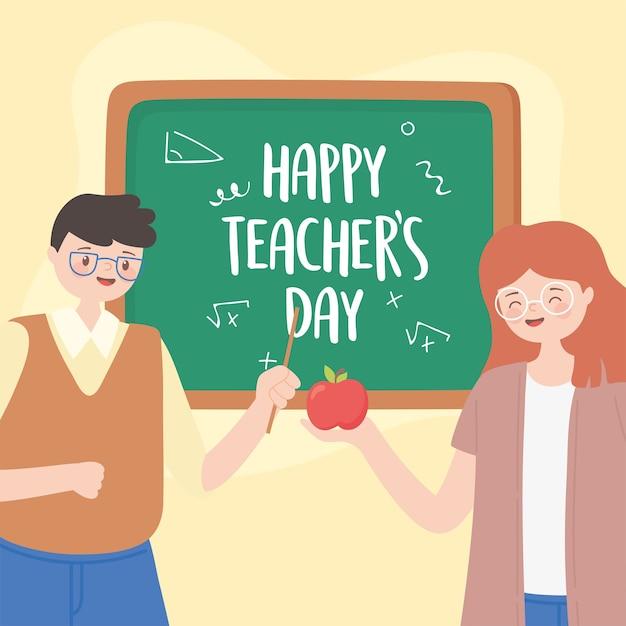 Feliz día del maestro, maestra y maestra con manzana y ...