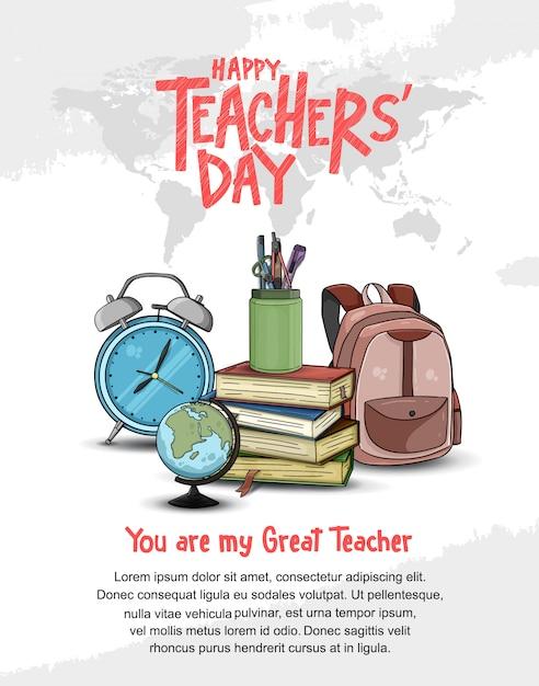 Feliz día del maestro plantilla de póster Vector Premium