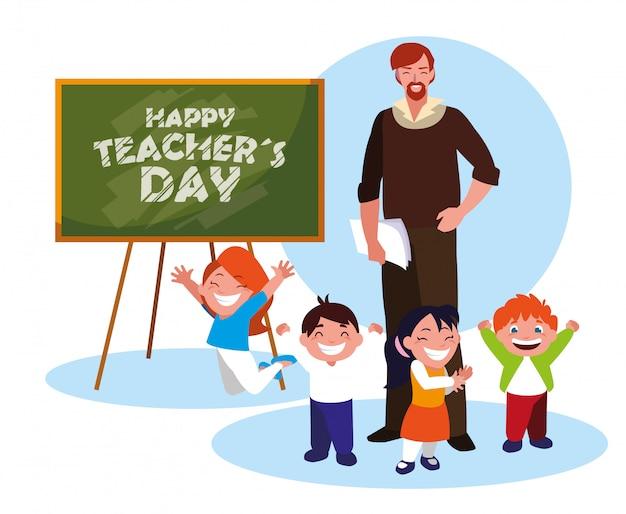 Feliz día del maestro con profesor y alumnos Vector Premium