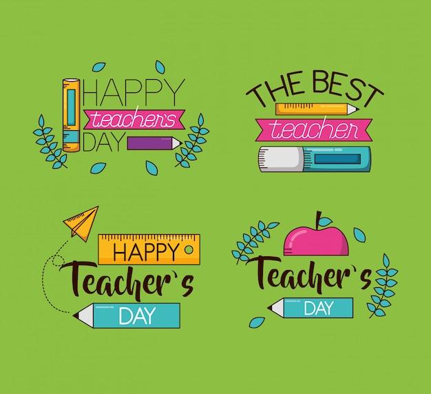 Feliz día del maestro set colección vector gratuito