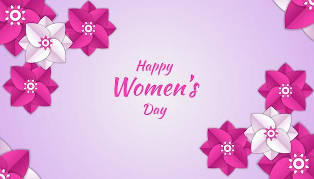 Feliz día de la mujer con flor de papel cortado decoración floral 3d en color rosa y blanco Vector Premium
