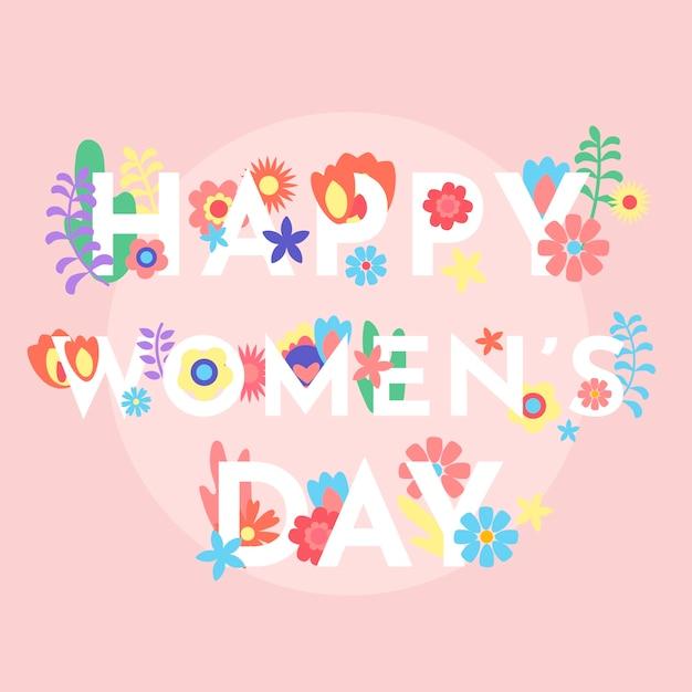 Feliz día de la mujer con flores de colores vector gratuito