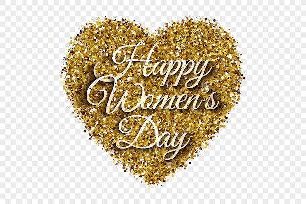 Feliz día de la mujer golden tinsel heart background Vector Premium