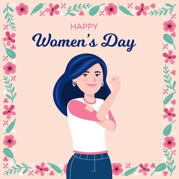 Feliz día de la mujer potenciando la igualdad Vector Premium