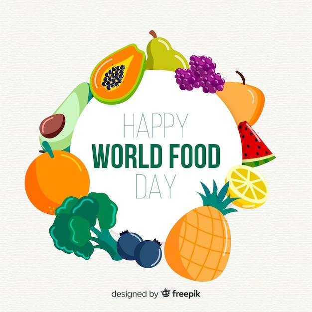 Feliz día mundial de la comida rodeado de frutas vector gratuito