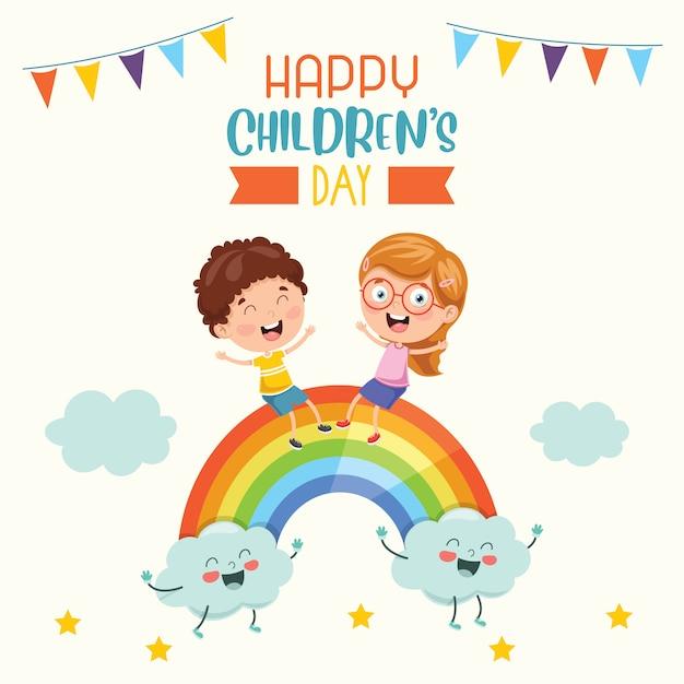 Feliz día del niño Vector Premium