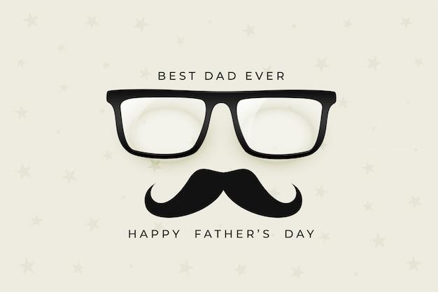 Feliz dia del padre agradable con gafas y bigote vector gratuito