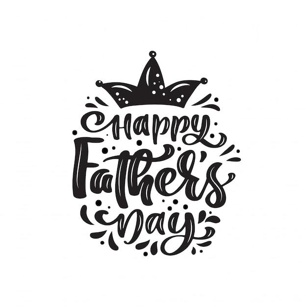 Feliz día del padre aislado letras texto caligráfico con corona. Vector Premium