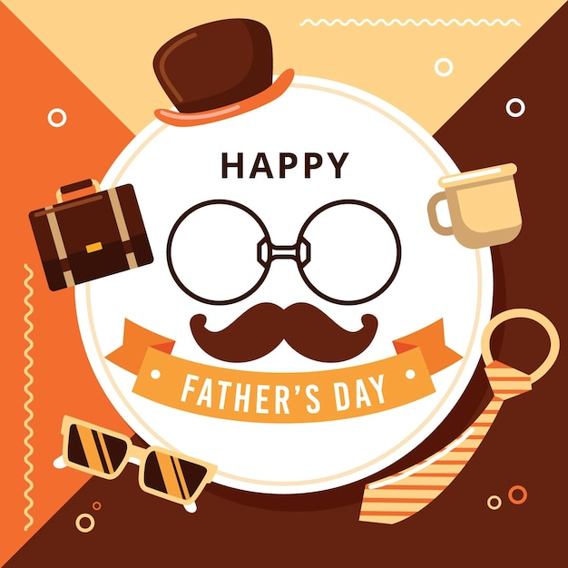 Feliz día del padre con bigote y anteojos vector gratuito