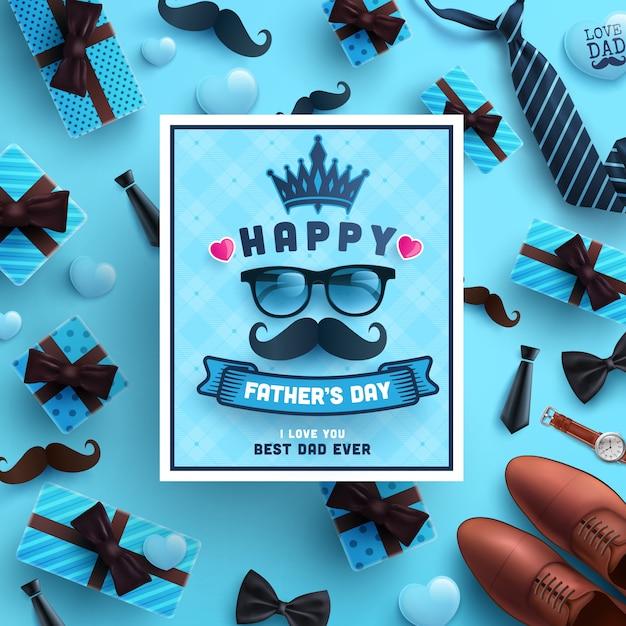 Feliz día del padre celebración saludos. Vector Premium