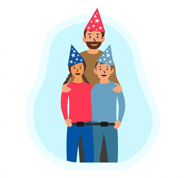 Feliz día del padre, cumpleaños plana Vector Premium