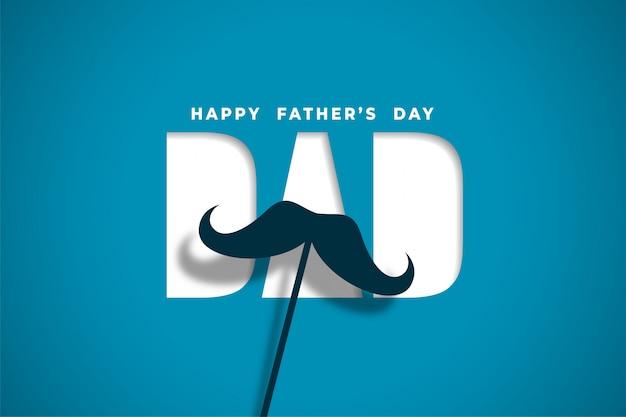 Feliz día del padre desea tarjeta en diseño de estilo papercut vector gratuito