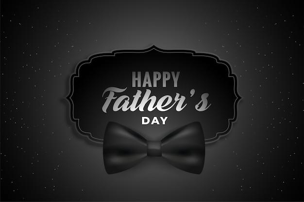 Feliz día del padre fondo negro con lazo realista vector gratuito