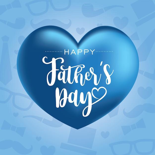 Feliz día del padre con globos en forma de corazón Vector Premium