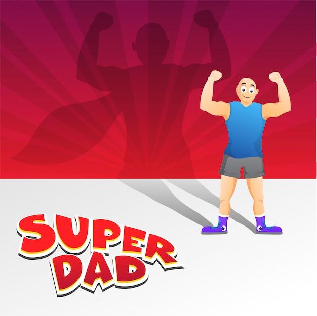 Feliz día del padre, hombre ordinario o silueta de padre imponente como un súper hombre o súper gordo Vector Premium