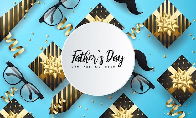 Feliz día del padre con marco circular Vector Premium