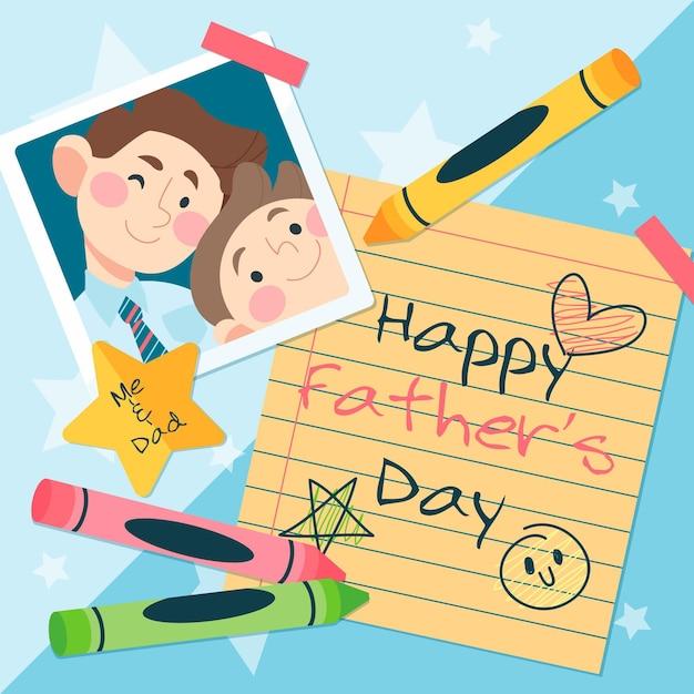 Feliz dia del padre con mensaje vector gratuito