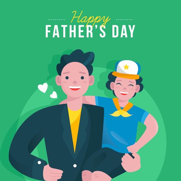 Feliz día del padre y niño lindo con gorra vector gratuito