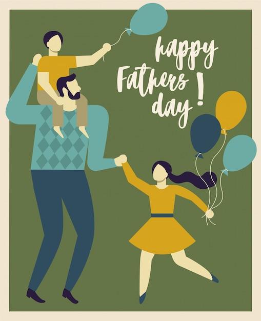 Feliz día del padre. padre sosteniendo a su hijo e hija. Vector Premium