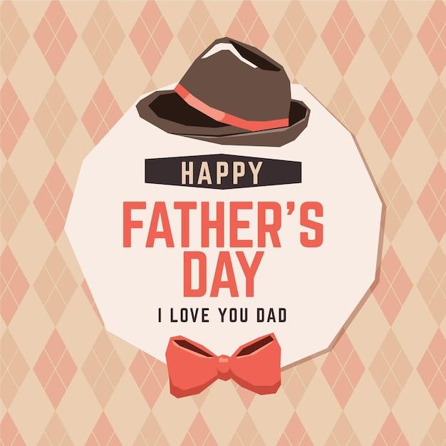 Feliz día del padre con pajarita y sombrero vector gratuito