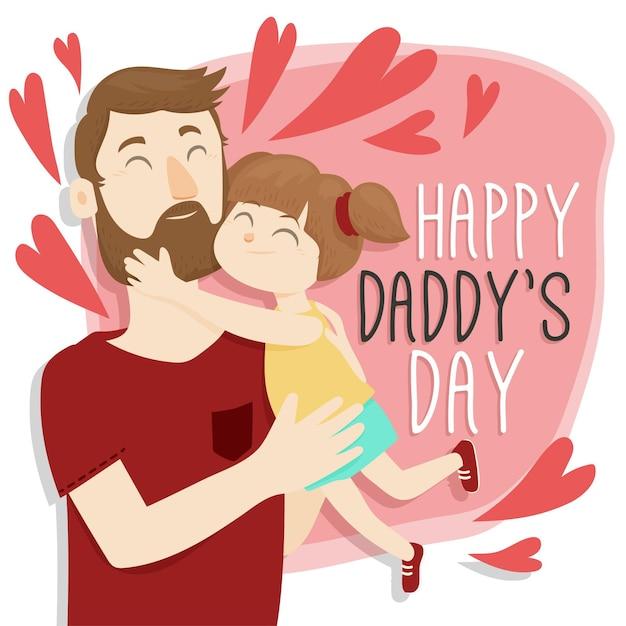 Feliz día del padre con papá y niña vector gratuito