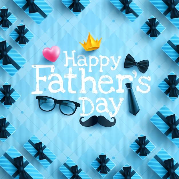 Feliz día del padre plantilla de cartel o pancarta con corbata, gafas y corazón en azul Vector Premium