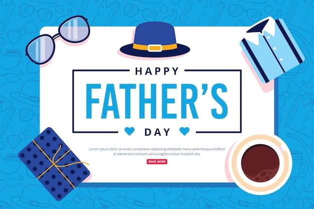 Feliz dia del padre con presente y cafe vector gratuito